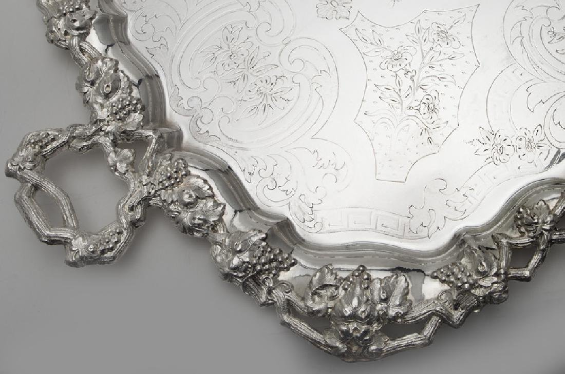 (2) Large ornate silverplate serving trays, - 3