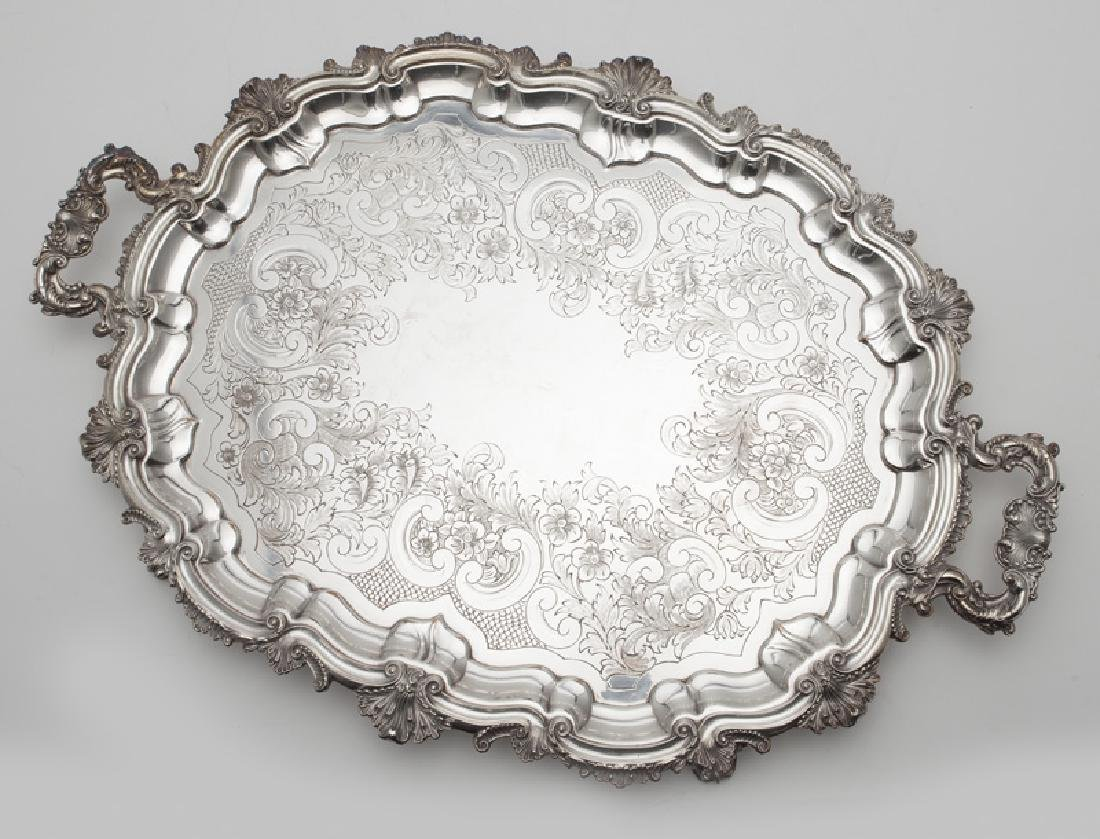 (2) Large ornate silverplate serving trays, - 6