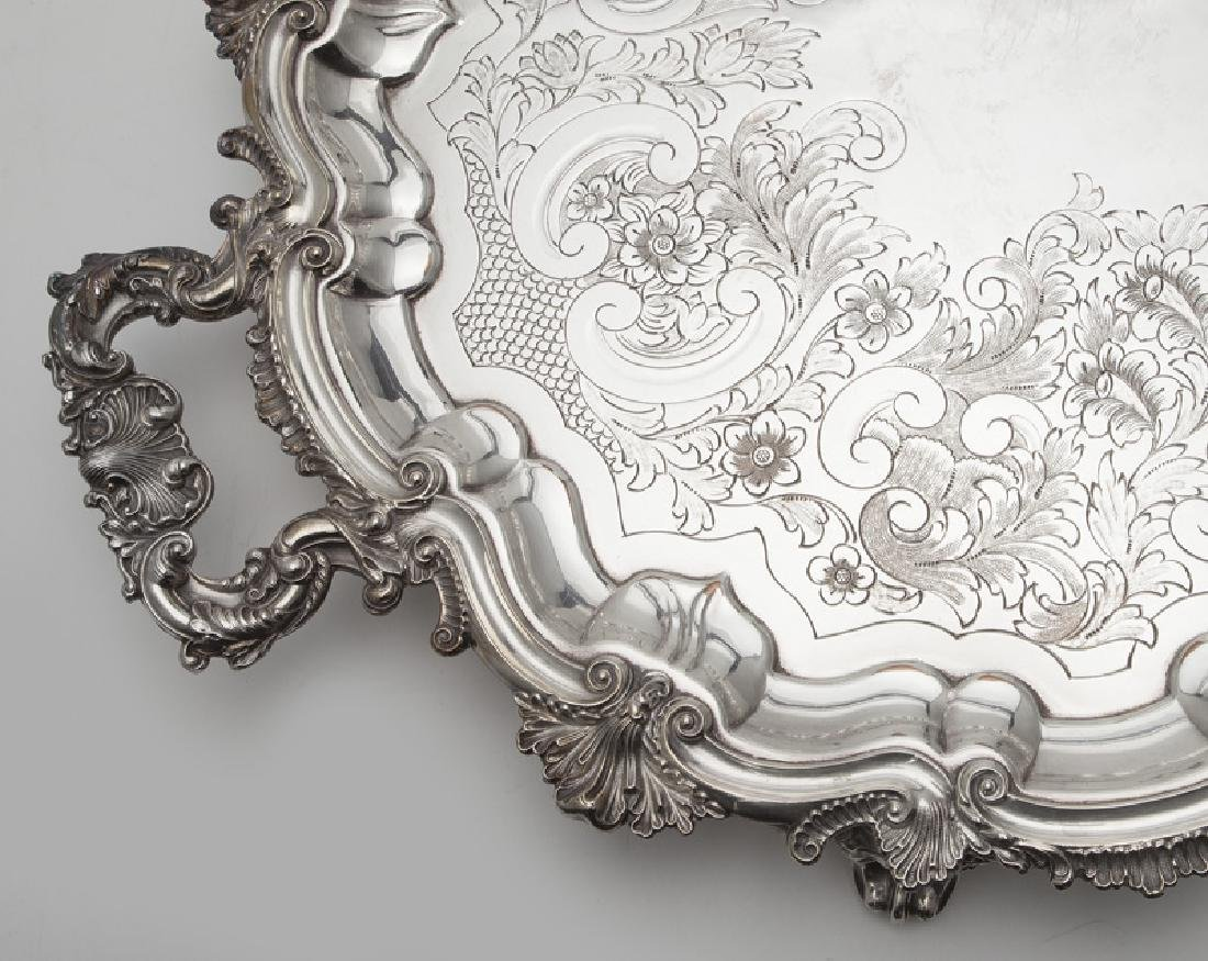 (2) Large ornate silverplate serving trays, - 7