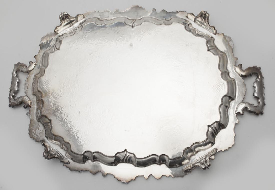 (2) Large ornate silverplate serving trays, - 8