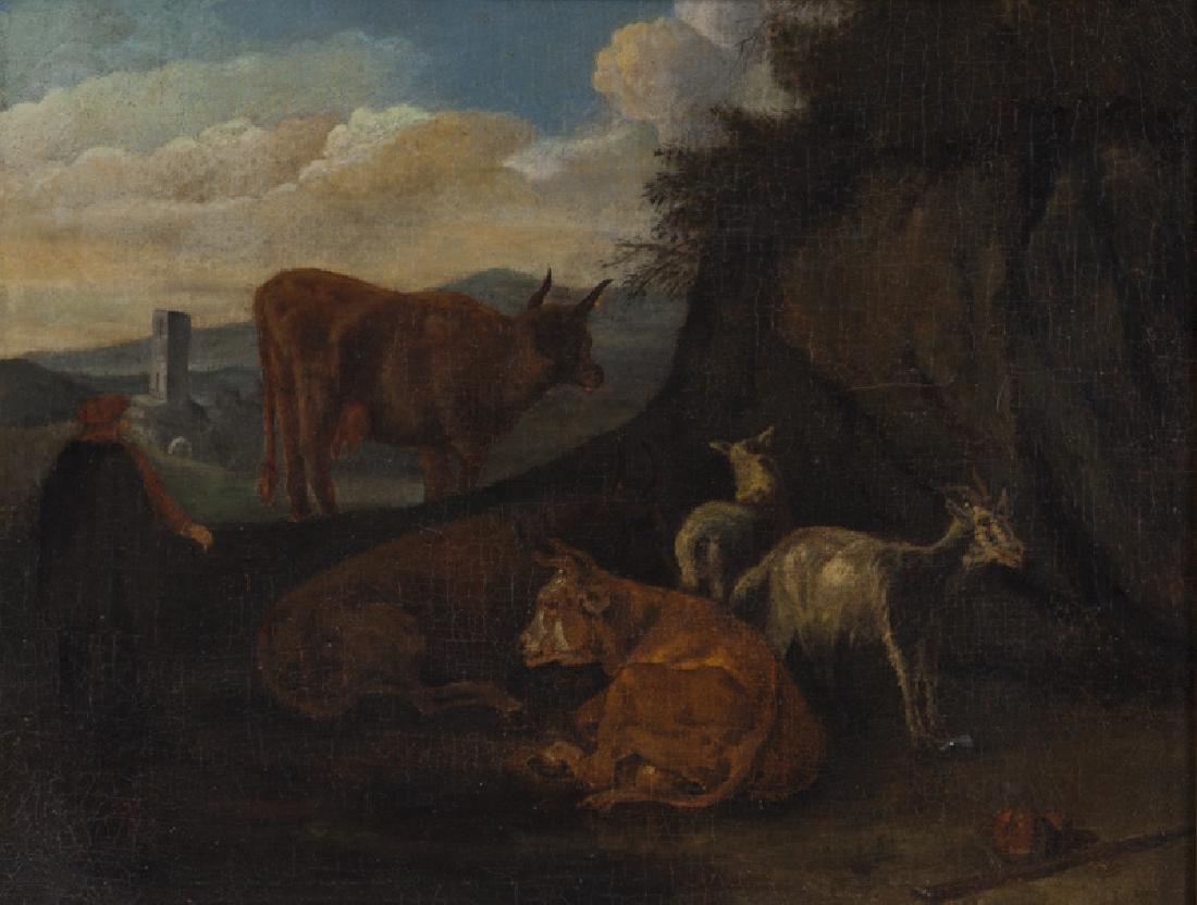 """Pieter van Bloemen """"Untitled (Pastoral scene)"""" oil"""
