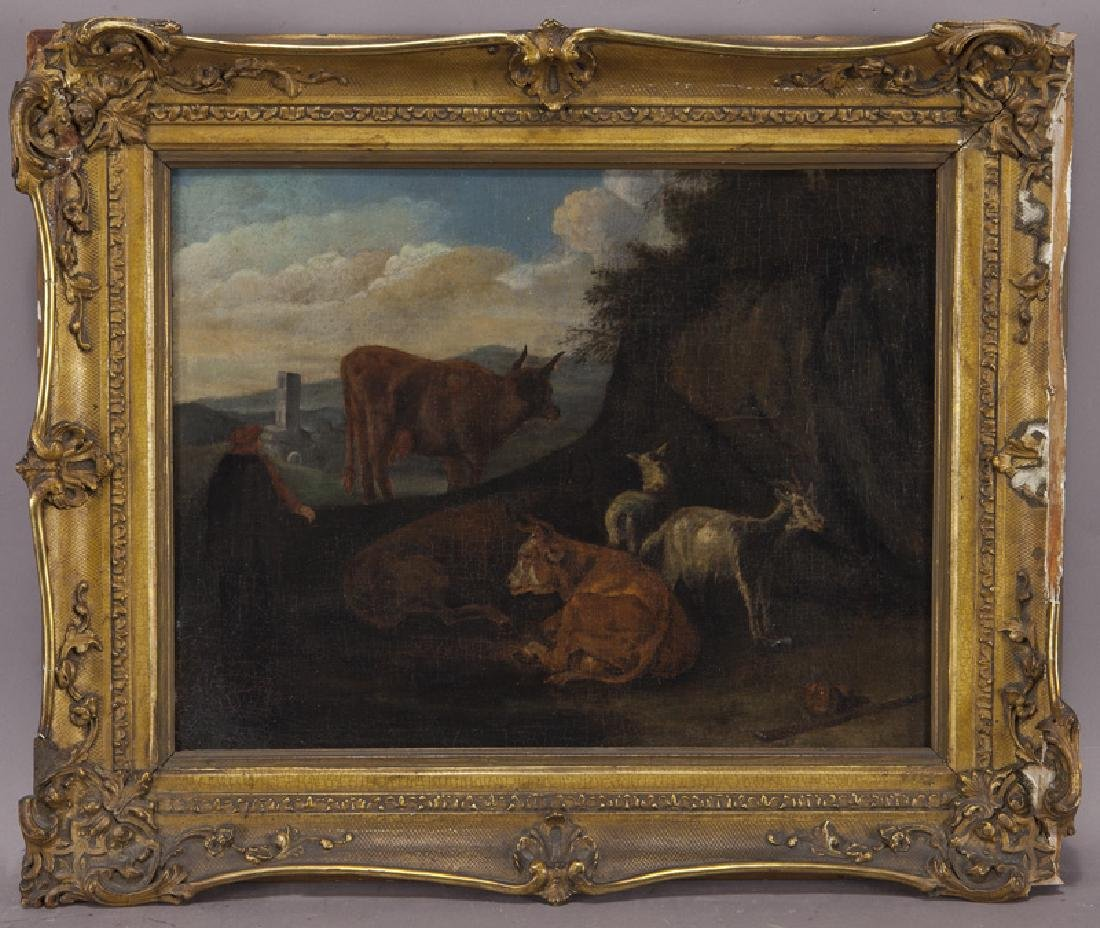 """Pieter van Bloemen """"Untitled (Pastoral scene)"""" oil - 2"""