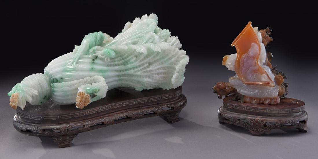 (2) Chinese carved stone pieces including:
