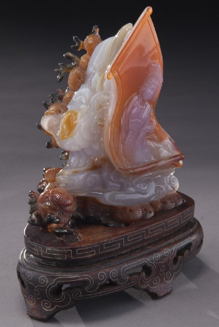 (2) Chinese carved stone pieces including: - 8