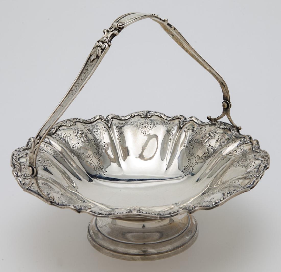 Gorham sterling silver fruit basket with handle,