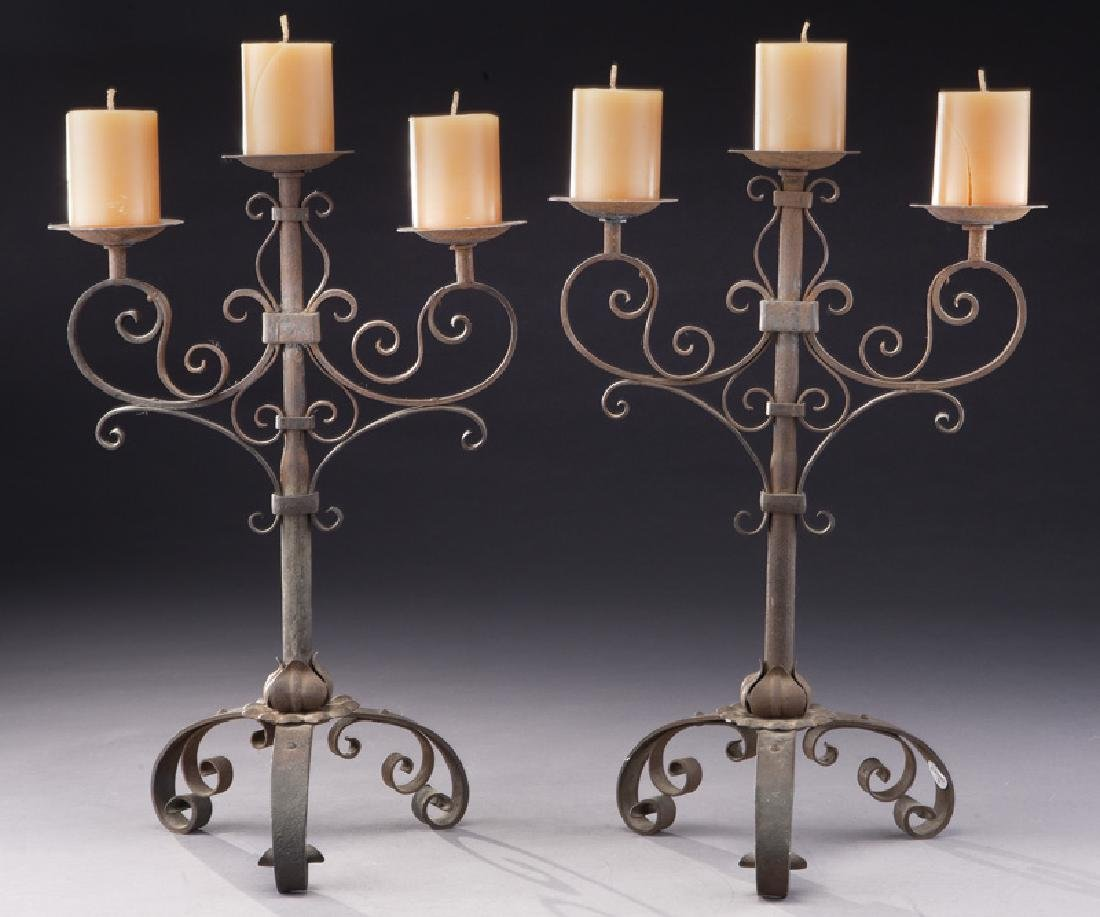 Pair of Italian wrought iron candelabra
