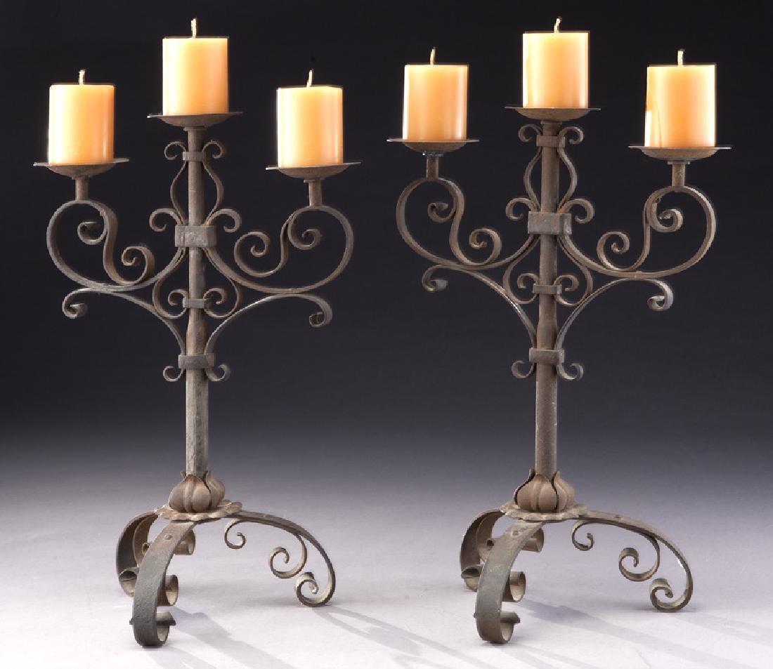 Pair of Italian wrought iron candelabra - 2