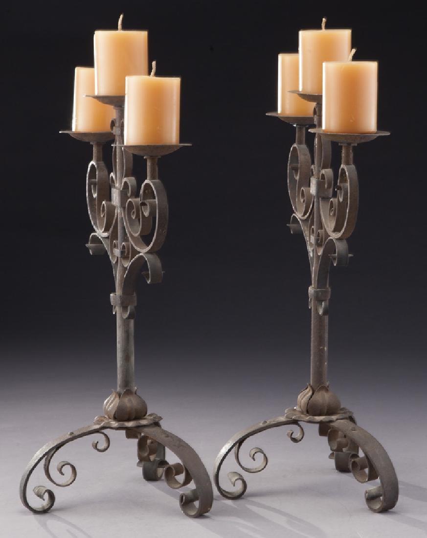 Pair of Italian wrought iron candelabra - 3