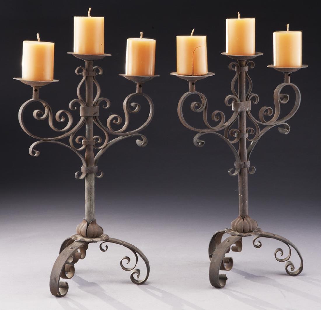 Pair of Italian wrought iron candelabra - 4