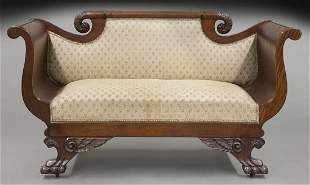 American Empire mahogany settee
