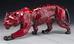 Royal Doulton flambe porcelain tiger.