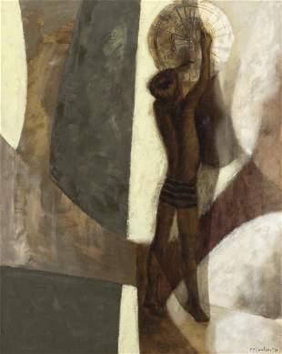 "Cecil Casebier ""Boy with Darts"" oil on canvas,"