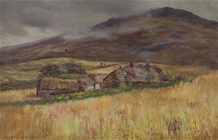 Oil on canvas depicting a cottage in an English