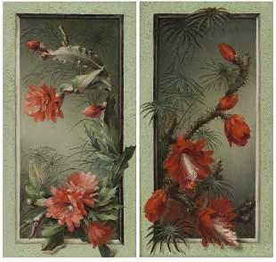 Pr. American School trompe-l'oeil tropical flowers