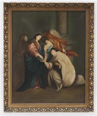 "L. Van Eyck ""Untitled (Religious scene)"" oil on"