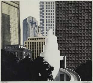 "Richard Haas ""Dallas Skyline"" lithograph, 1988."