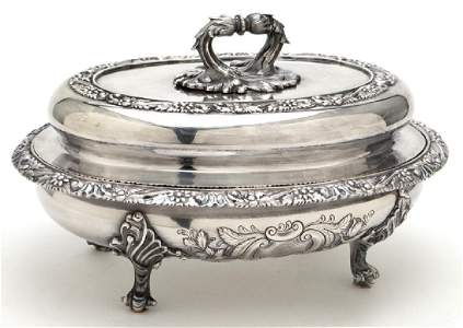 Bailey & Kitchen coin silver lidded tureen,