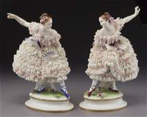 Pr Dresden lace porcelain ladies