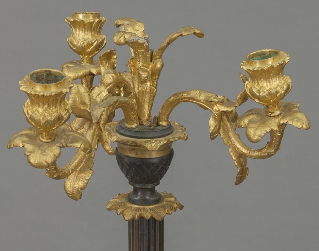 Continental gilt & patinated bronze candelabra, - 2