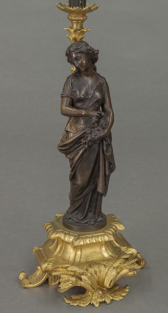 Continental gilt & patinated bronze candelabra, - 3