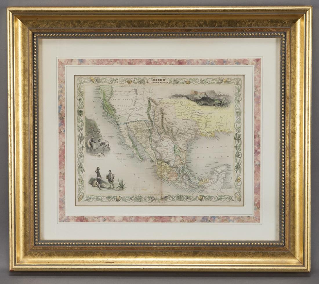 Map of Mexico, California and Texas,