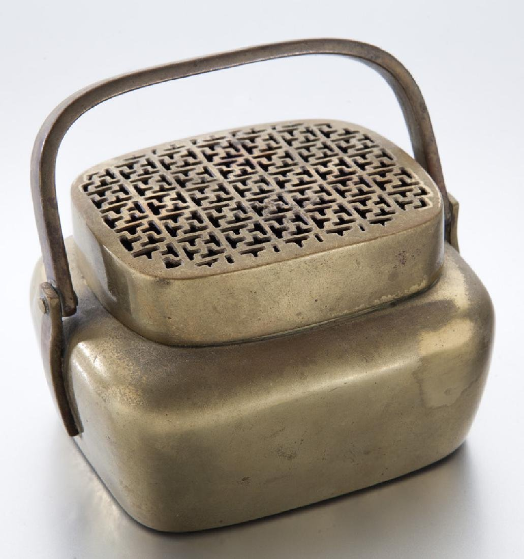 Chinese Qing brass hand warmer with Greek
