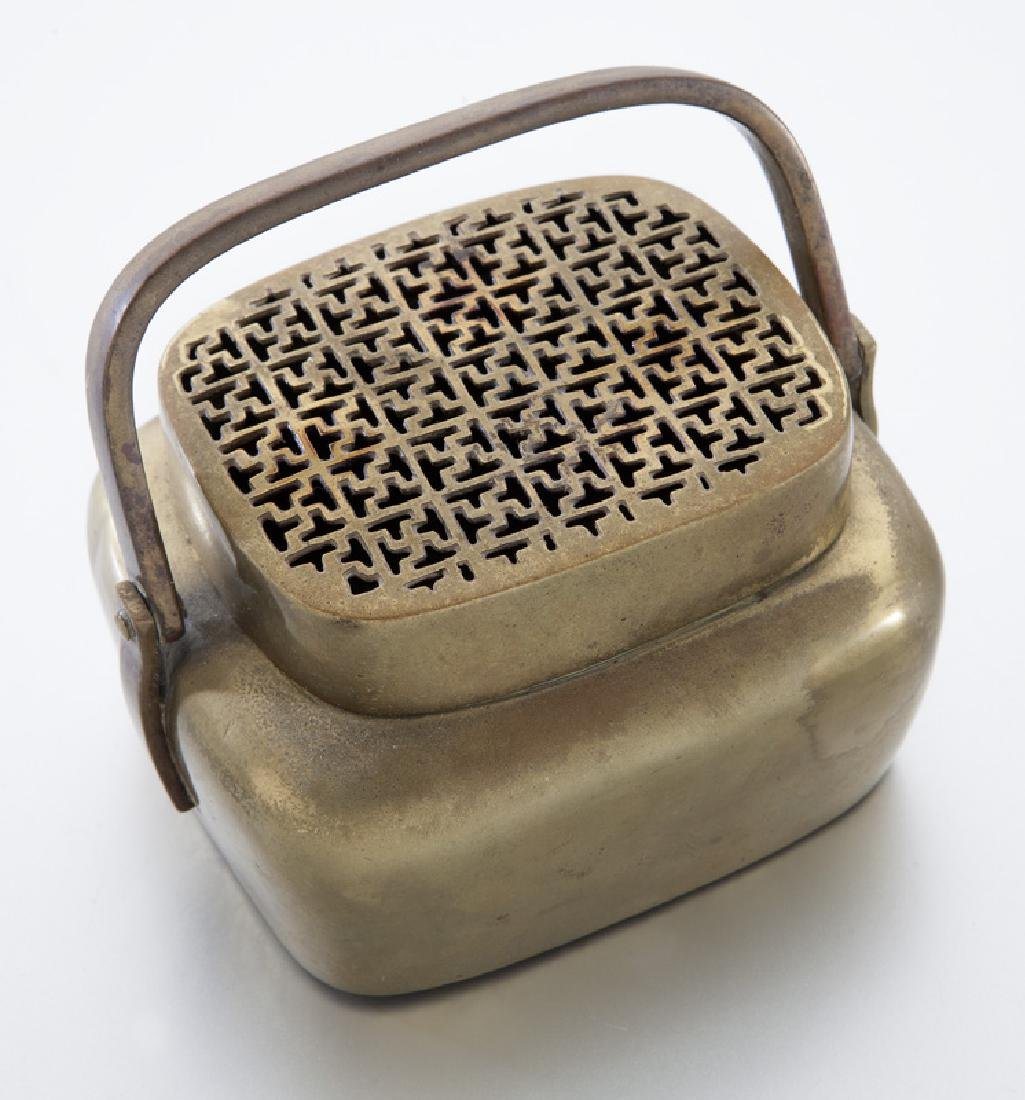 Chinese Qing brass hand warmer with Greek - 4
