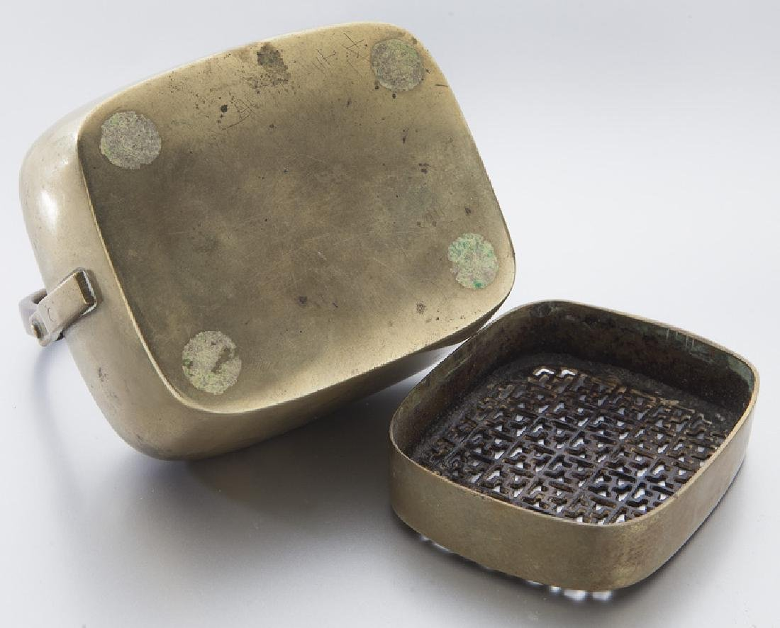 Chinese Qing brass hand warmer with Greek - 6