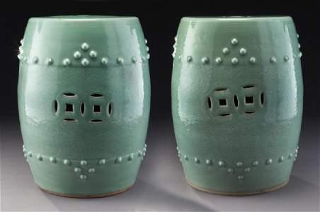 Pr. Chinese Qing celadon garden stools.