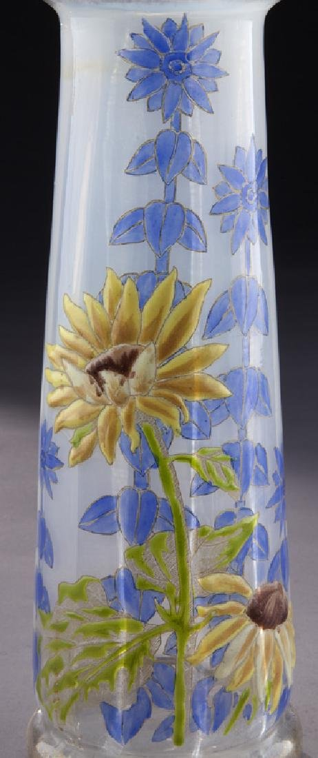 (3) French enamel glass vases, - 10