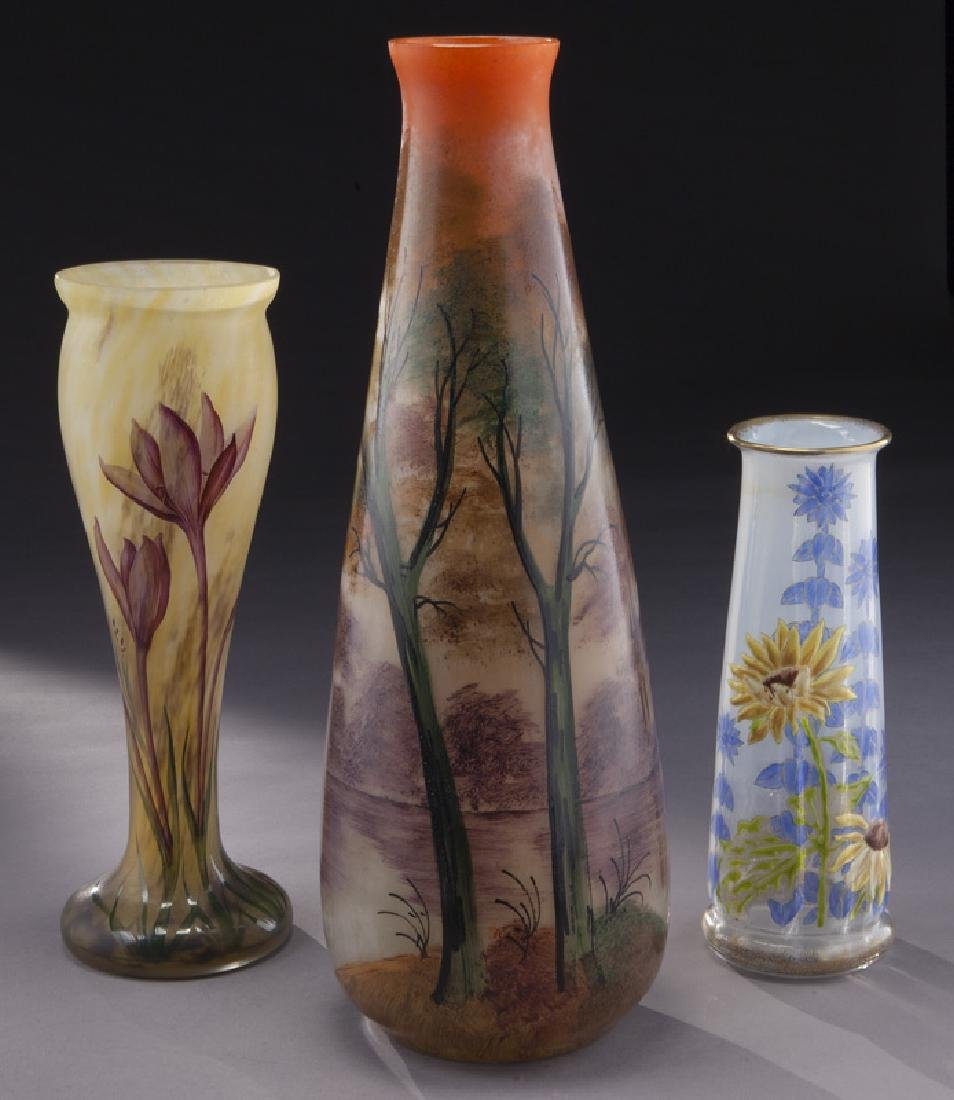 (3) French enamel glass vases,