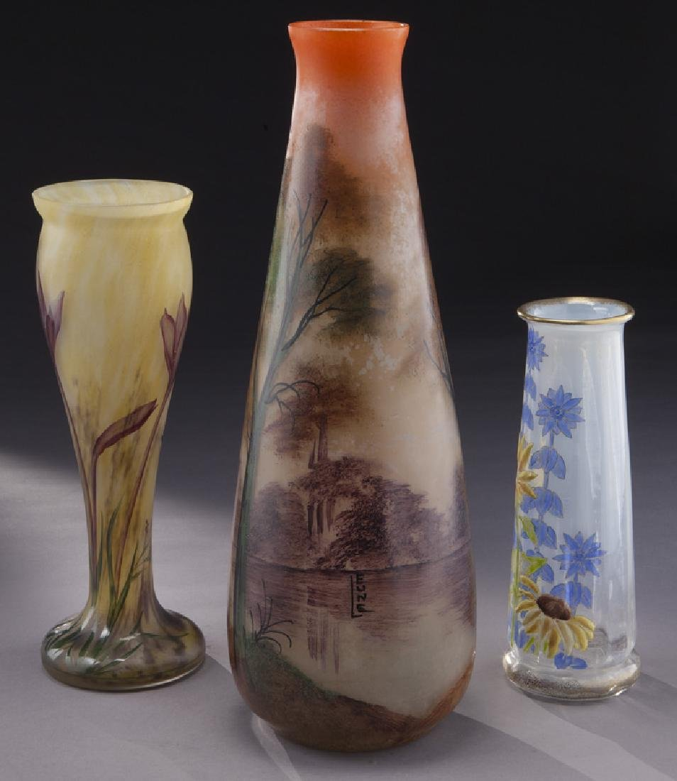 (3) French enamel glass vases, - 2
