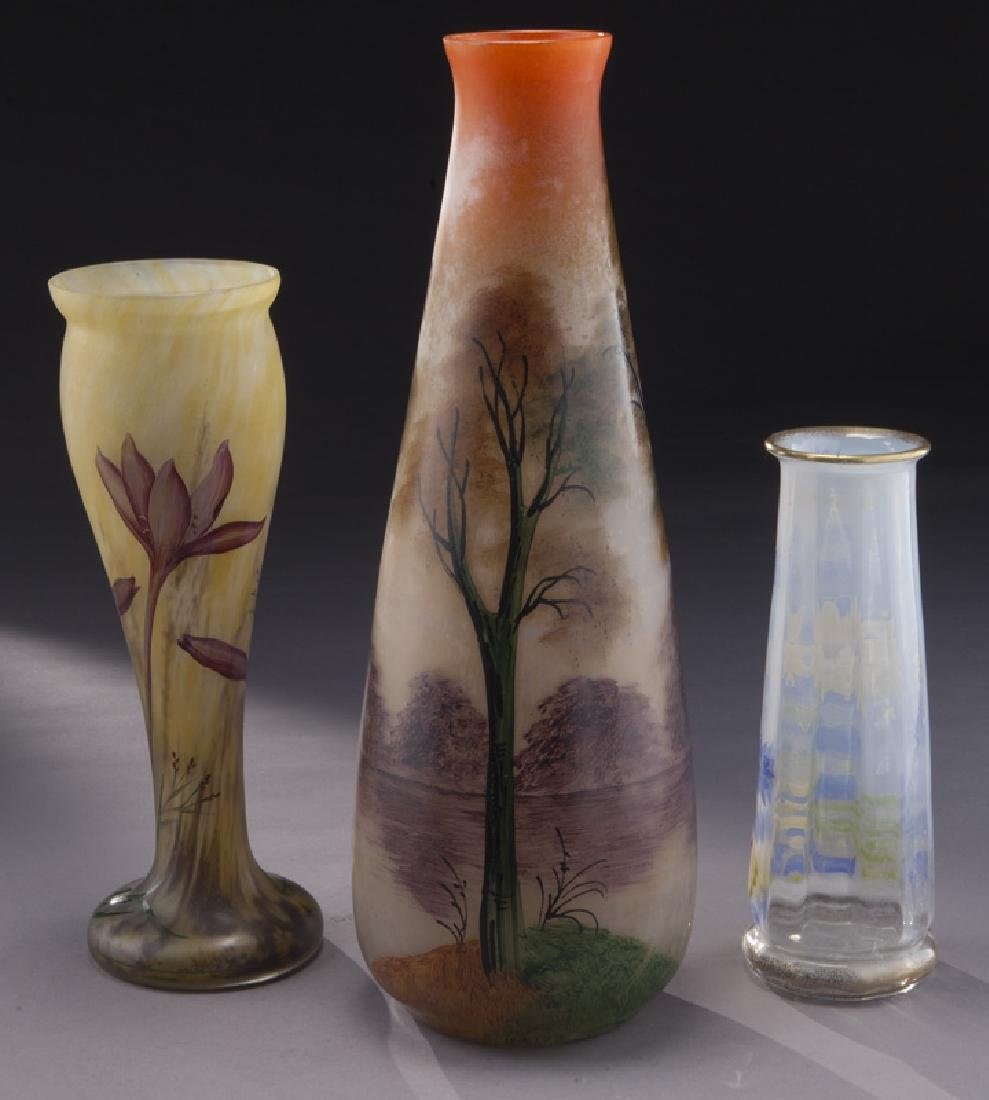 (3) French enamel glass vases, - 3