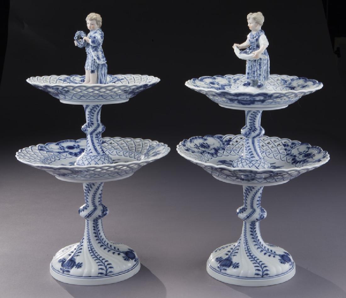 Pr. Meissen Blue Onion pattern 2-tier dessert - 2