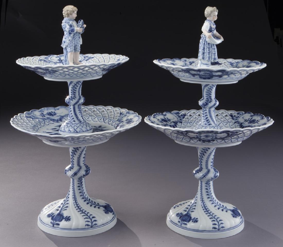 Pr. Meissen Blue Onion pattern 2-tier dessert - 4