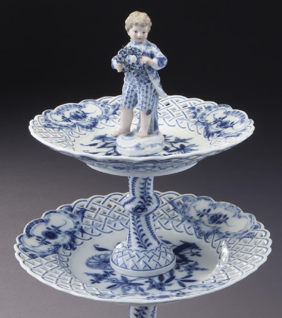 Pr. Meissen Blue Onion pattern 2-tier dessert - 5