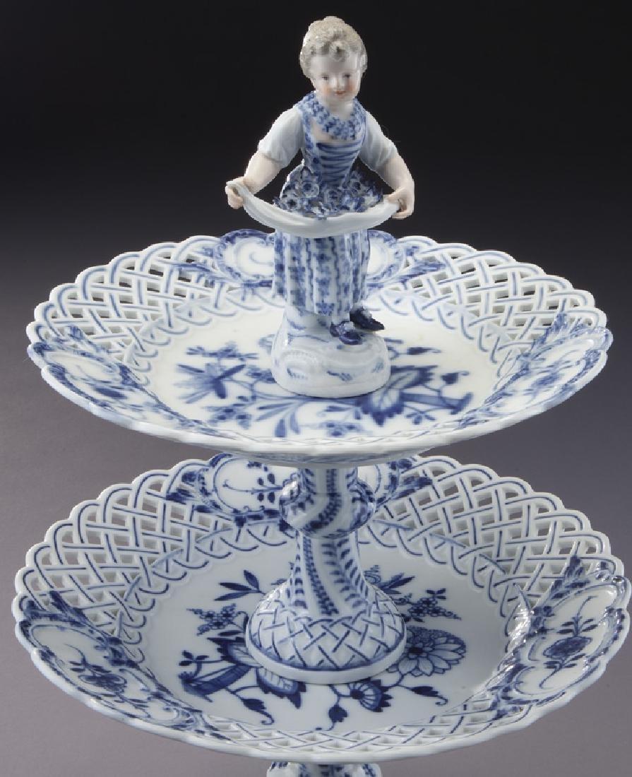 Pr. Meissen Blue Onion pattern 2-tier dessert - 7