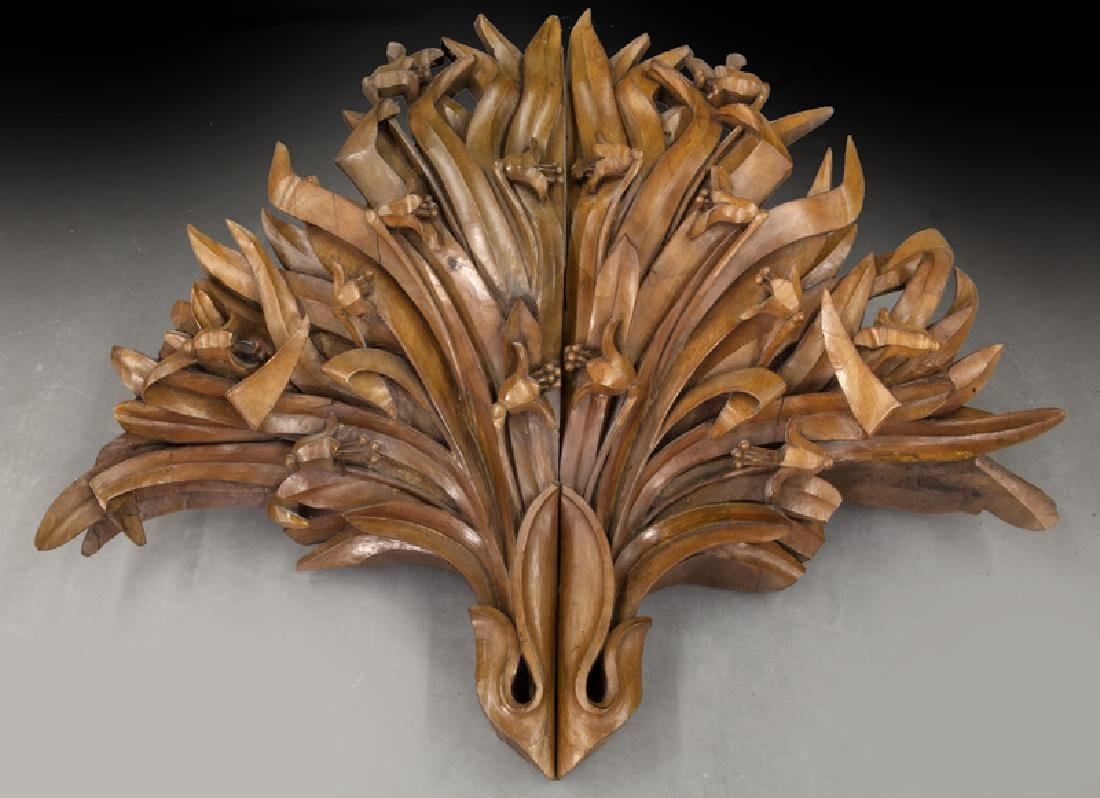 Large pair of carved wood wall mounts