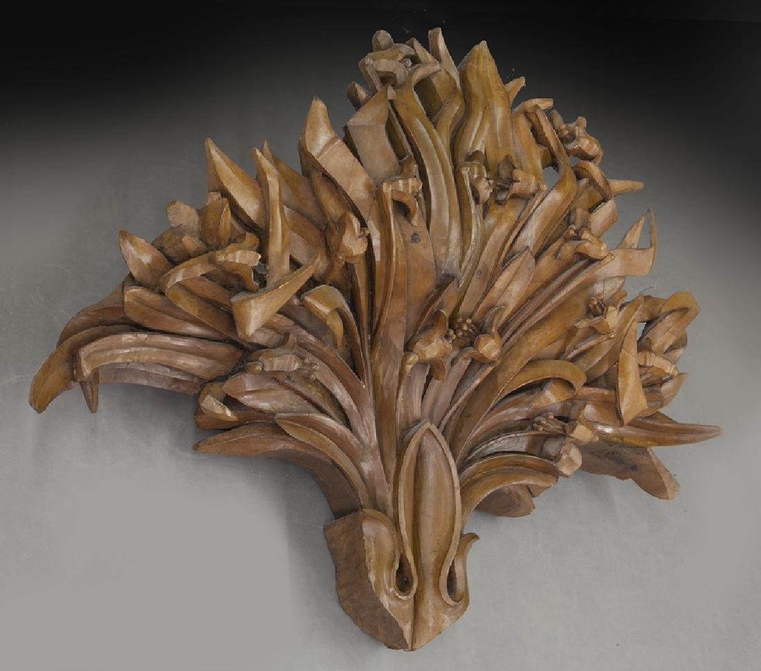 Large pair of carved wood wall mounts - 2