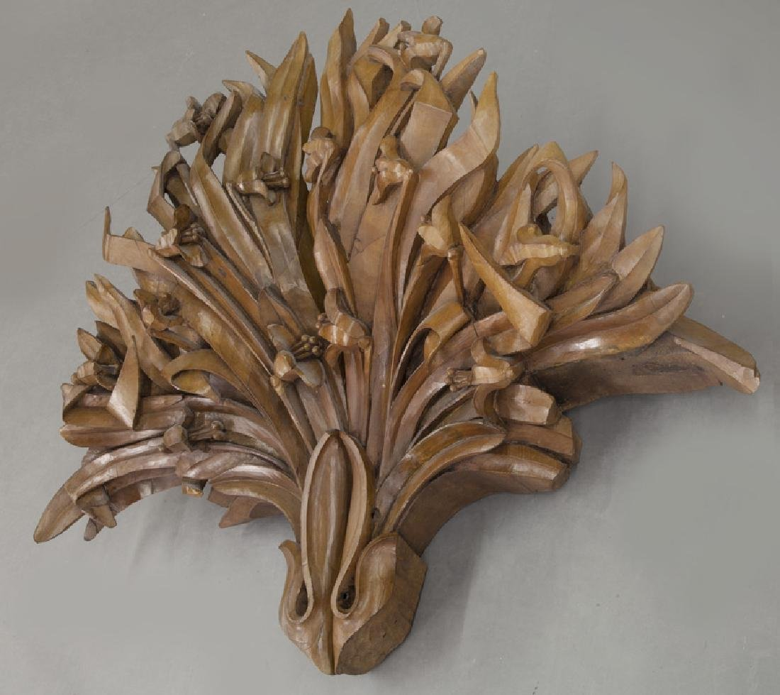 Large pair of carved wood wall mounts - 3