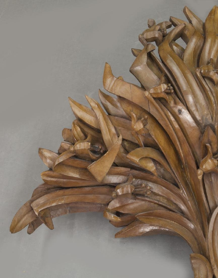Large pair of carved wood wall mounts - 4