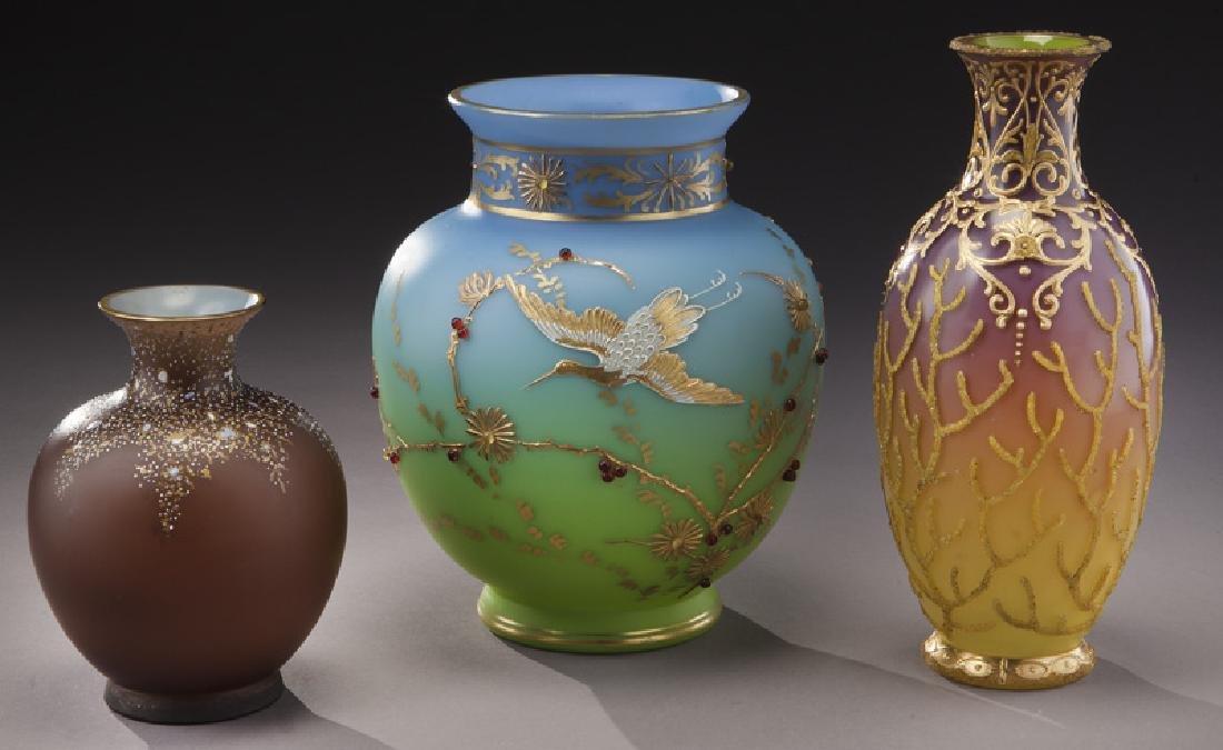 (3) Bohemian enameled glass vases,