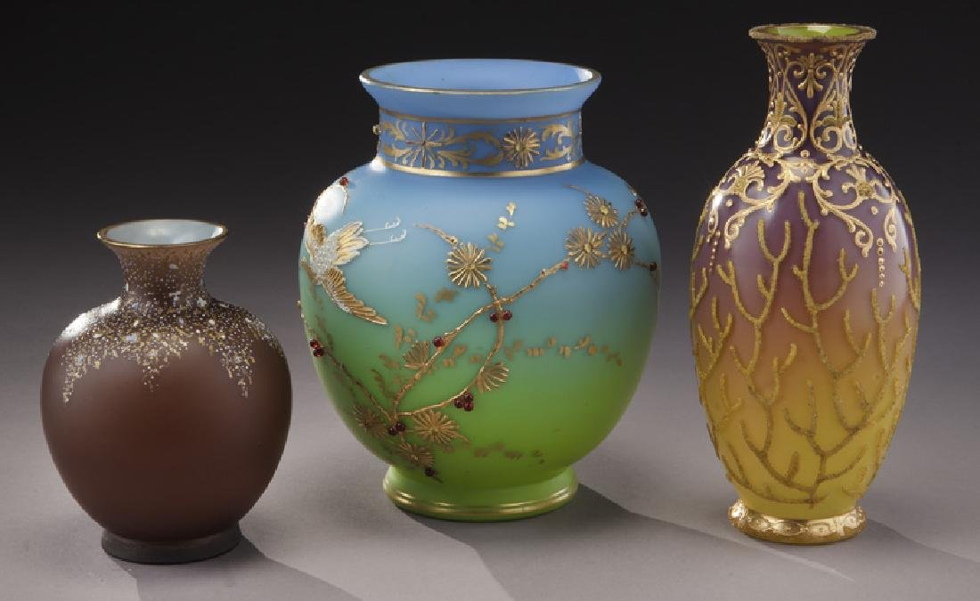 (3) Bohemian enameled glass vases, - 2