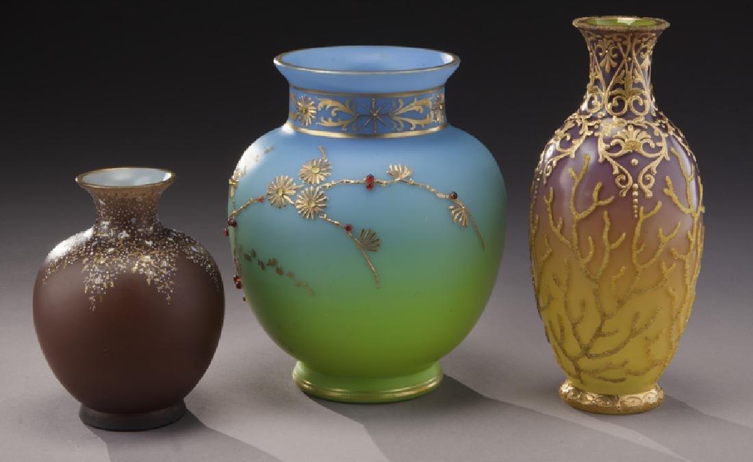 (3) Bohemian enameled glass vases, - 3