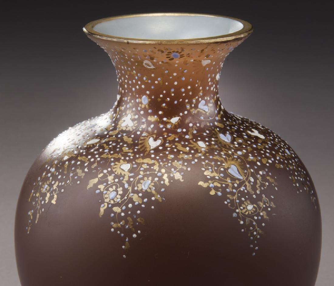 (3) Bohemian enameled glass vases, - 4