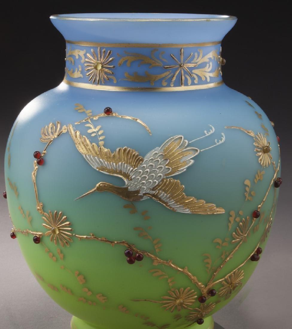 (3) Bohemian enameled glass vases, - 5
