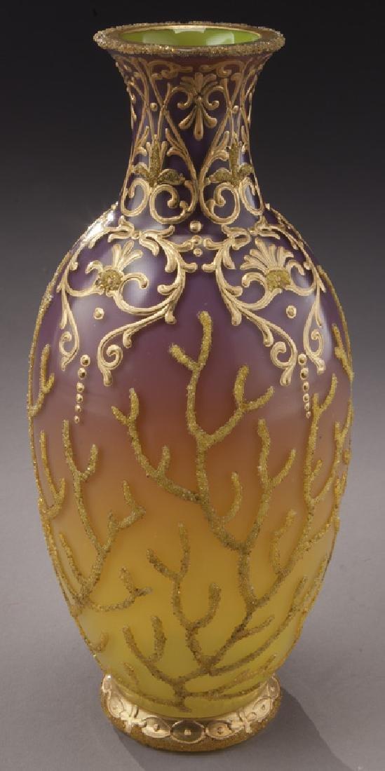 (3) Bohemian enameled glass vases, - 6