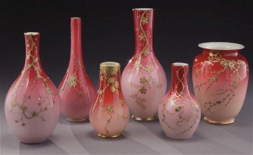 (6) Webb/Harrach peach blow vases