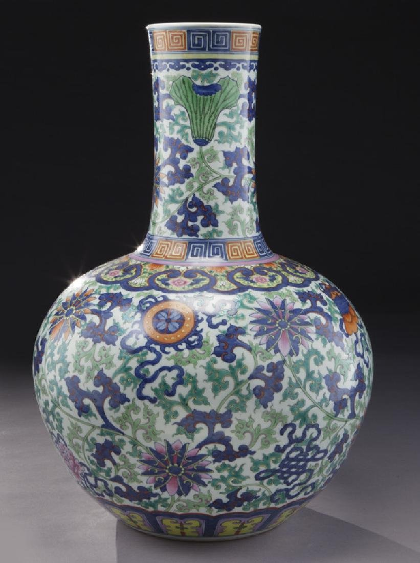 Chinese Qing cobalt blue and wucai porcelain vase, - 4