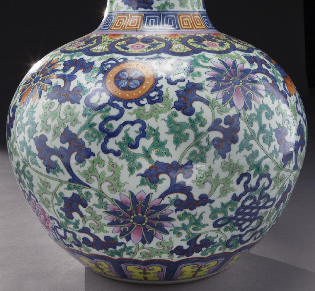 Chinese Qing cobalt blue and wucai porcelain vase, - 6